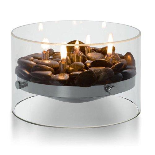 Philippi 123118 Fire Tischkamin Glas, Aluminium und Edelstahl ø 23 cm