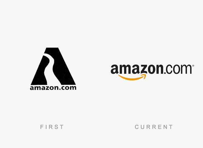 Logo von Amazon - Damals und heute