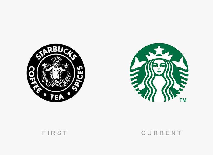 Logo von Starbucks - Damals und heute