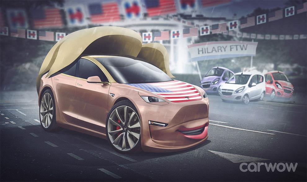 Hillary Clinton – Tesla Model 3 Carwow