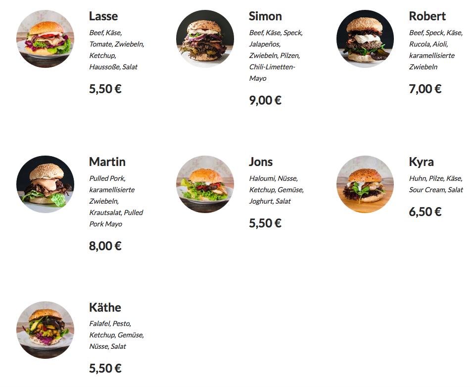 Gutburgerlich Gießen Burger Auswahl