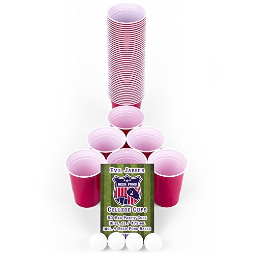 Evil Jared Hasselhoff College Red Cups | Beer-Pong Party-Zubehör Set | 50 Rote Party-Becher (480ml) + 4 Ping Pong Bälle | Inkl. 4 Mini Shot Cups und Spielregeln