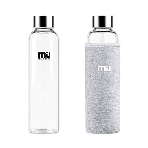 MIU COLOR® Stilvolle tragbare 550ml Glasflasche mit Nylon Tasche Trinkflasche für Auto onhe Teesieb, grau