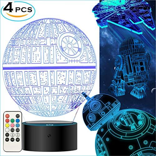 Star Wars 3D Lampe für Geschenke- Star Wars Spielzeug 3D Nachtlicht, 4 Modus und 7 Farbwechsel mit Fernbedienung oder Touch, Dekorieren Kinds Bedroom. Besten Geschenke von 2018 für Star Wars Fans  (4 Packs-Bigger-Heller)